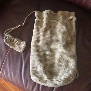 Crochet tan backpack